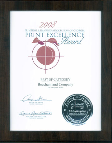 The Printing & Imaging Association of Georgia's award to The Beacham Series in its statewide Print Excellence Competition.
