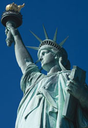 The beautiful Statue of Liberty in New York City.