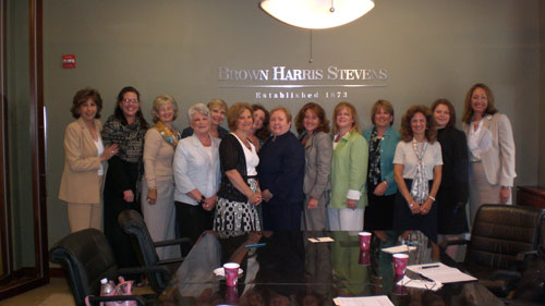 (Left to right): Silvana Malpelli, Brown Harris Stevens; Beth Heard-Laffey, Sotheby's Realty; Ruth Chizzini, Houlihan Lawrence; Leslie Goldberg, Friedberg Properties; Marie Montchal, Daniel Gale Sotheby's; Donna Conte, Terrie O'Connor Realtors; Barbara Hallen, Hudson Shores Realtors; Dawn Fetherston, Diane Turton Realtors; Kimberly Barkoff, Daniel Gale Sotheby's; Teresa Morrison, Friedberg Properties; Pam Chute, Leading Real Estate Companies of the World; Gail Fatizzi, Westchester Real Estate; Sandra Torres, Brown Harris Stevens and Kathleen Coumo, Christie's Great Estates.